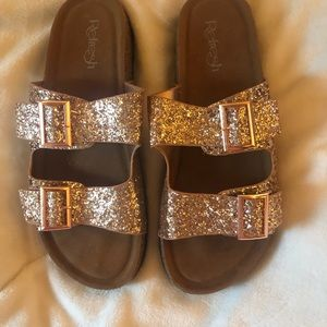 Glitter Double Strap Buckle Sandals-Rose Gold